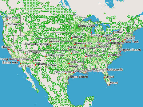 USA Phone Rental Coverage Maps - Usa and canada map with cities