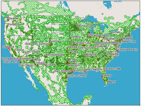 This National Wireless Coverage Map Shows The Locations You May Use You A Digital Gsm Wireless Cellular Phone Within The Usa You Must Have A 1900 Mhz Gsm